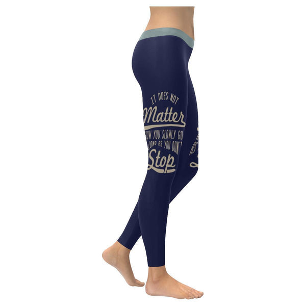 It Does Not Matter How You Slowly Go As Long As You Don't Stop Inspirational Motivational Quotes Low Rise Leggings For Women (3 colors)-XXS-Navy-JoyHip.Com