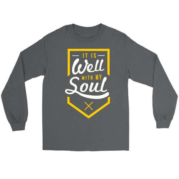 It Is Well With My Soul Christian Friendship Religious Gift Ideas Long Sleeve-T-shirt-Gildan Long Sleeve Tee-Grey-JoyHip.Com