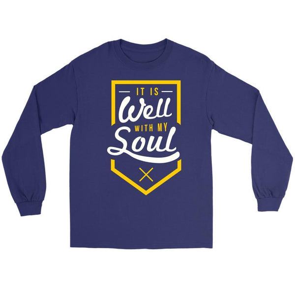 It Is Well With My Soul Christian Friendship Religious Gift Ideas Long Sleeve-T-shirt-Gildan Long Sleeve Tee-Purple-JoyHip.Com