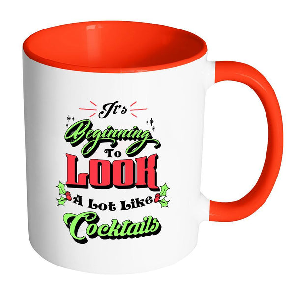 It's Beginning To Look A Lot Like Cocktails Festive Funny Ugly Christmas Holiday Sweater 11oz Accent Coffee Mug (7 Colors)-Drinkware-Accent Mug - Red-JoyHip.Com