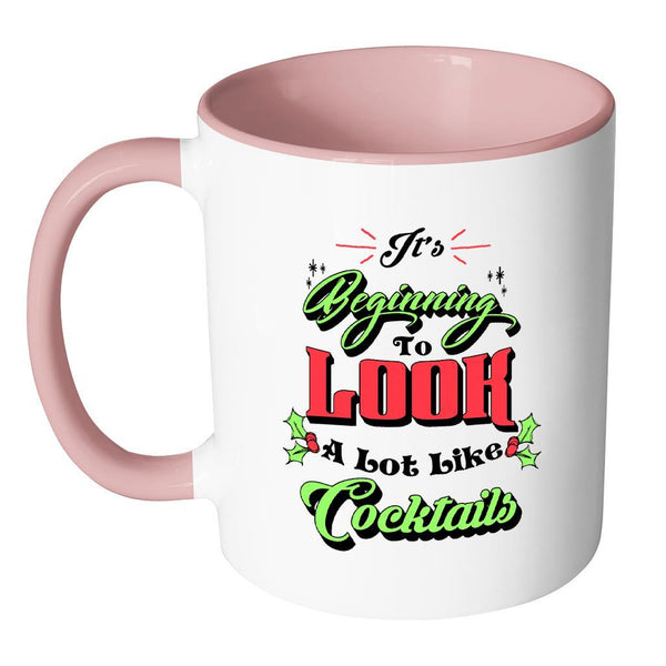 It's Beginning To Look A Lot Like Cocktails Festive Funny Ugly Christmas Holiday Sweater 11oz Accent Coffee Mug (7 Colors)-Drinkware-JoyHip.Com