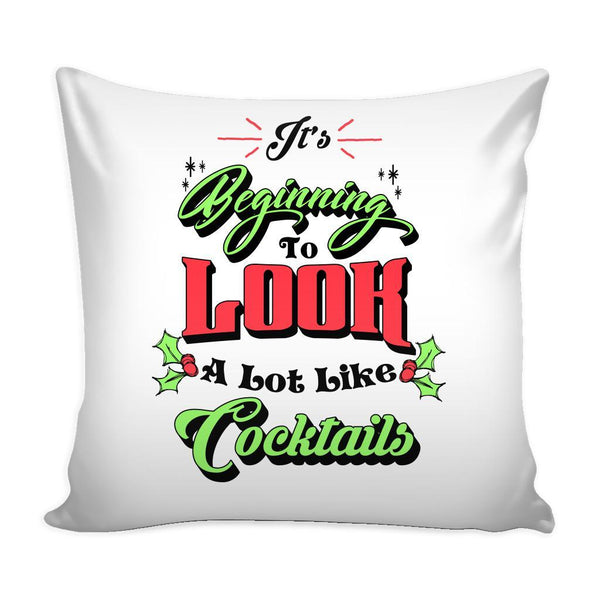 It's Beginning To Look A Lot Like Cocktails Festive Funny Ugly Christmas Holiday Sweater Decorative Throw Pillow Cases Cover(4 Colors)-Pillows-White-JoyHip.Com
