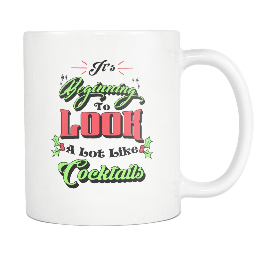 It's Beginning To Look A Lot Like Cocktails Festive Funny Ugly Christmas Holiday Sweater White 11oz Coffee Mug-Drinkware-Ugly Christmas Sweater White 11oz Coffee Mug-JoyHip.Com