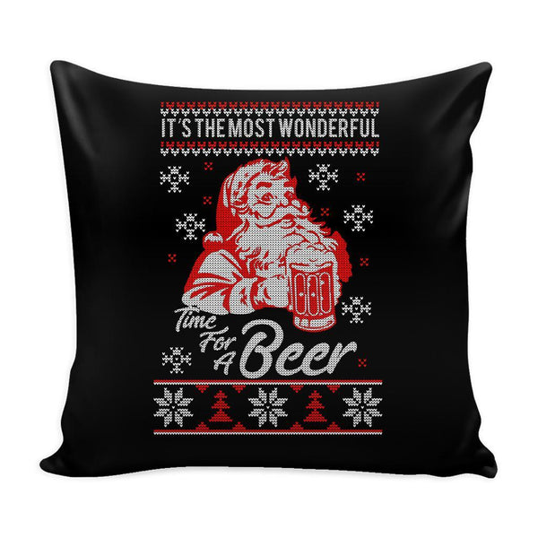 It's The Most Wonderful Time For A Beer Funny Festive Funny Ugly Christmas Holiday Sweater Decorative Throw Pillow Cases Cover(4 Colors)-Pillows-Black-JoyHip.Com
