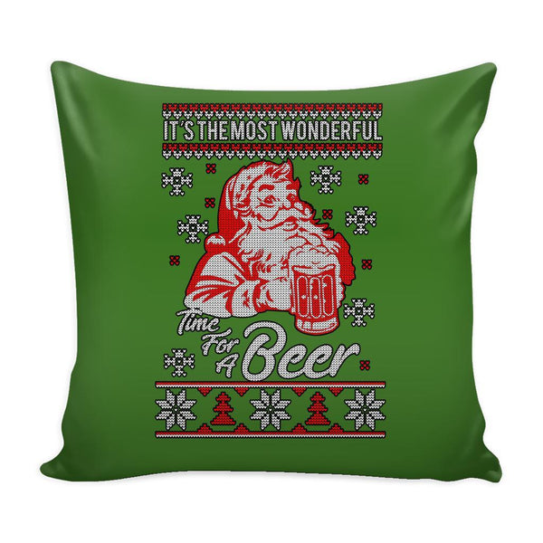 It's The Most Wonderful Time For A Beer Funny Festive Funny Ugly Christmas Holiday Sweater Decorative Throw Pillow Cases Cover(4 Colors)-Pillows-Green-JoyHip.Com