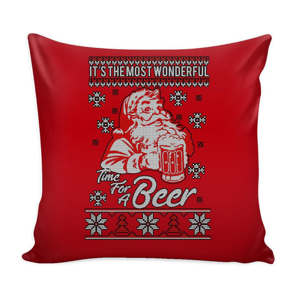 It's The Most Wonderful Time For A Beer Funny Festive Funny Ugly Christmas Holiday Sweater Decorative Throw Pillow Cases Cover(4 Colors)-Pillows-Red-JoyHip.Com