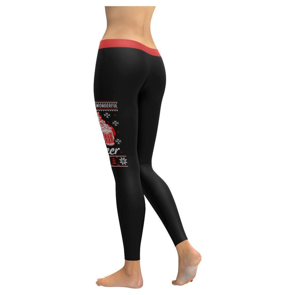 Its The Most Wonderful Time For A Beer Funny Gift Ugly Christmas Womens Leggings-JoyHip.Com