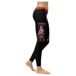 Its The Most Wonderful Time For A Beer Funny Gift Ugly Christmas Womens Leggings-XXS-Black-JoyHip.Com
