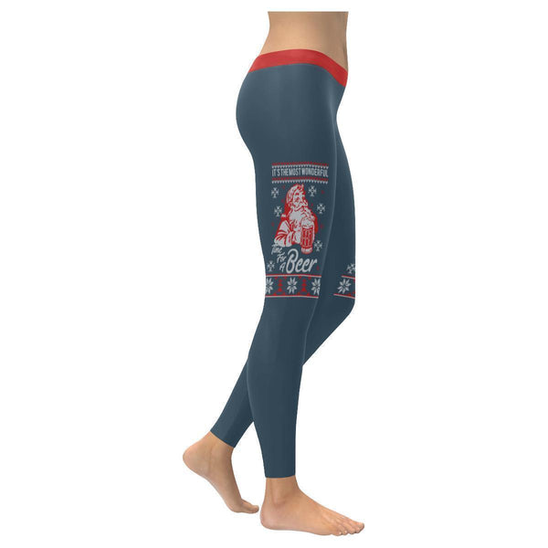 Its The Most Wonderful Time For A Beer Funny Gift Ugly Christmas Womens Leggings-XXS-Grey-JoyHip.Com