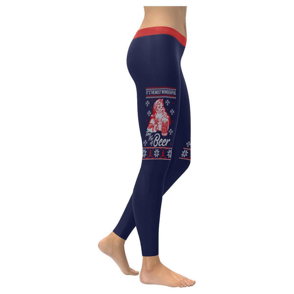 Its The Most Wonderful Time For A Beer Funny Gift Ugly Christmas Womens Leggings-XXS-Navy-JoyHip.Com