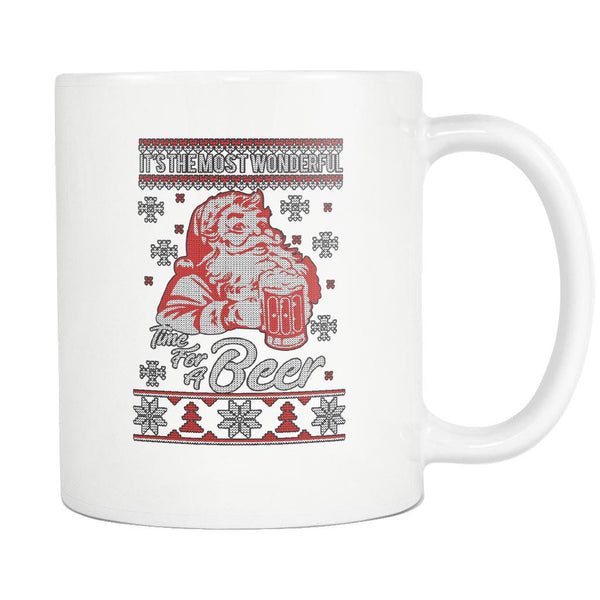 It's The Most Wonderful Time For A Beer Funny Ugly Christmas Sweater White 11oz Coffee Mug-Drinkware-Ugly Christmas Sweater White 11oz Coffee Mug-JoyHip.Com