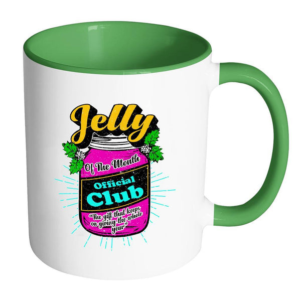 Jelly Of The Month Official Club The Gift That Keeps On Giving The Whole Year Festive Funny Ugly Christmas Holiday Sweater 11oz Accent Coffee Mug (7 Colors)-Drinkware-Accent Mug - Green-JoyHip.Com