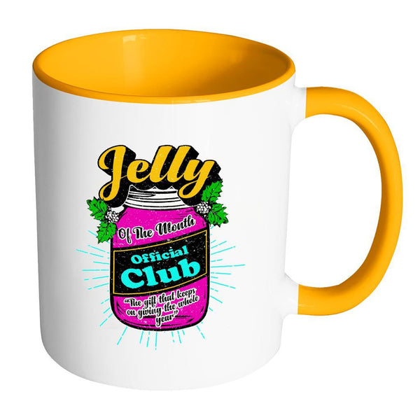 Jelly Of The Month Official Club The Gift That Keeps On Giving The Whole Year Festive Funny Ugly Christmas Holiday Sweater 11oz Accent Coffee Mug (7 Colors)-Drinkware-Accent Mug - Orange-JoyHip.Com