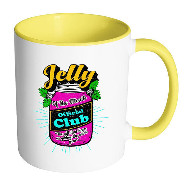 Jelly Of The Month Official Club The Gift That Keeps On Giving The Whole Year Festive Funny Ugly Christmas Holiday Sweater 11oz Accent Coffee Mug (7 Colors)-Drinkware-Accent Mug - Yellow-JoyHip.Com
