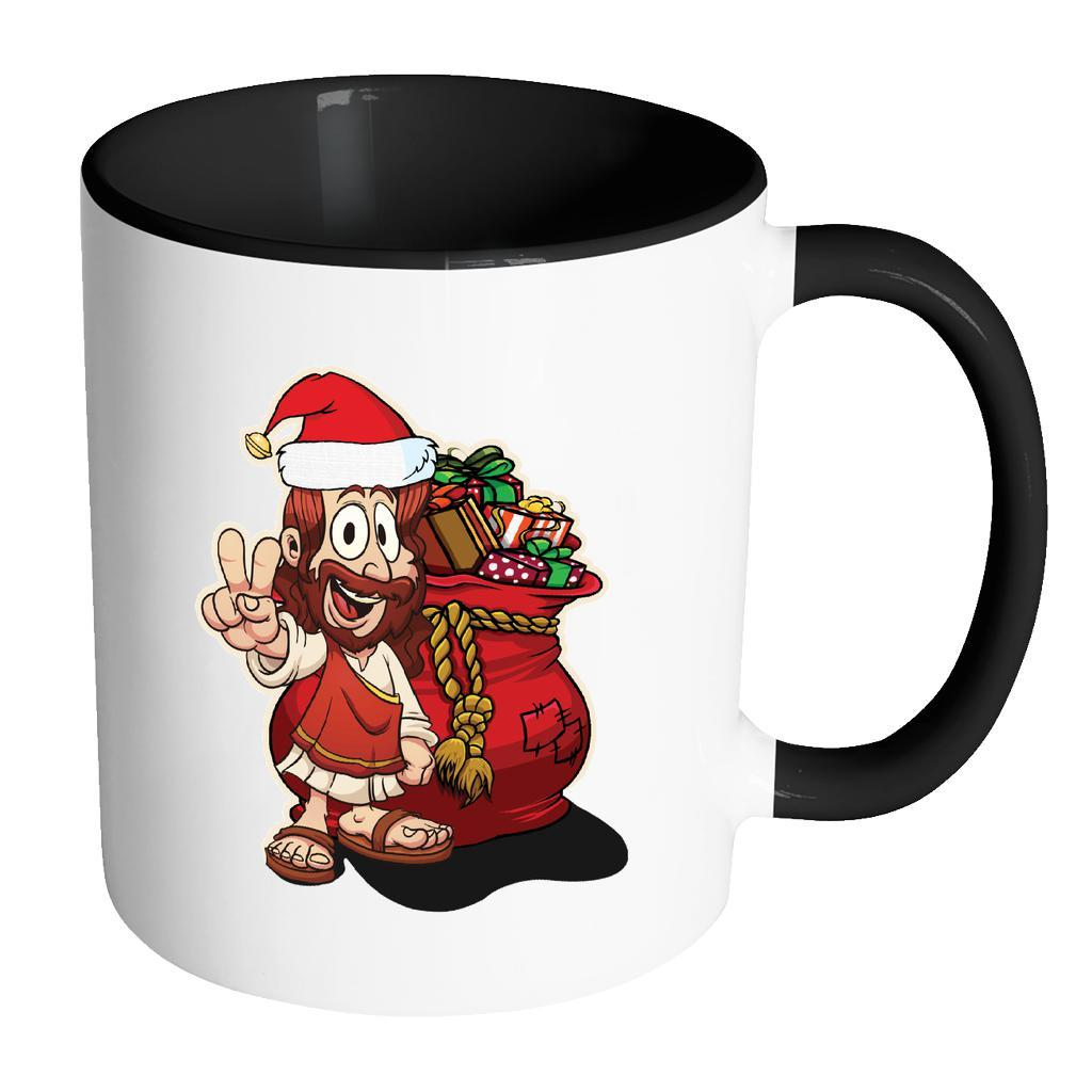 Jesus Christ Santa Ugly Christmas Sweater 11oz Accent Coffee Mug (7 Colors)-Drinkware-Accent Mug - Black-JoyHip.Com