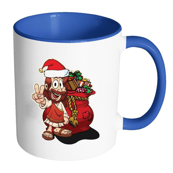 Jesus Christ Santa Ugly Christmas Sweater 11oz Accent Coffee Mug (7 Colors)-Drinkware-Accent Mug - Blue-JoyHip.Com