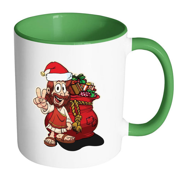 Jesus Christ Santa Ugly Christmas Sweater 11oz Accent Coffee Mug (7 Colors)-Drinkware-Accent Mug - Green-JoyHip.Com