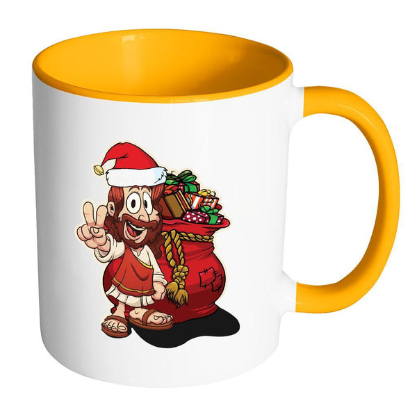 Jesus Christ Santa Ugly Christmas Sweater 11oz Accent Coffee Mug (7 Colors)-Drinkware-Accent Mug - Orange-JoyHip.Com