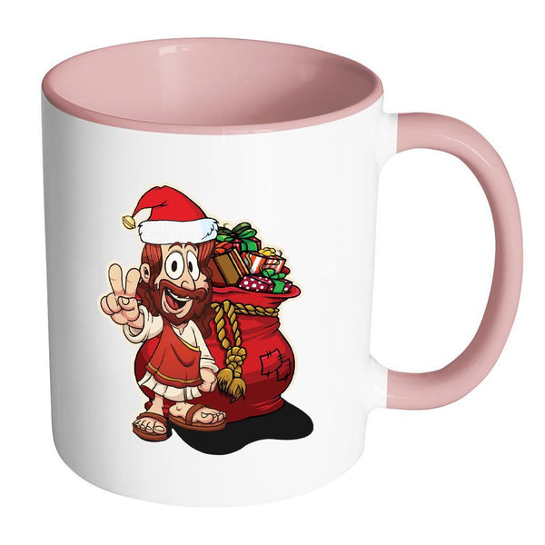 Jesus Christ Santa Ugly Christmas Sweater 11oz Accent Coffee Mug (7 Colors)-Drinkware-Accent Mug - Pink-JoyHip.Com