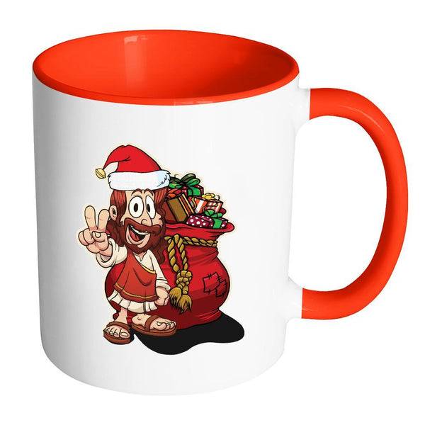 Jesus Christ Santa Ugly Christmas Sweater 11oz Accent Coffee Mug (7 Colors)-Drinkware-Accent Mug - Red-JoyHip.Com