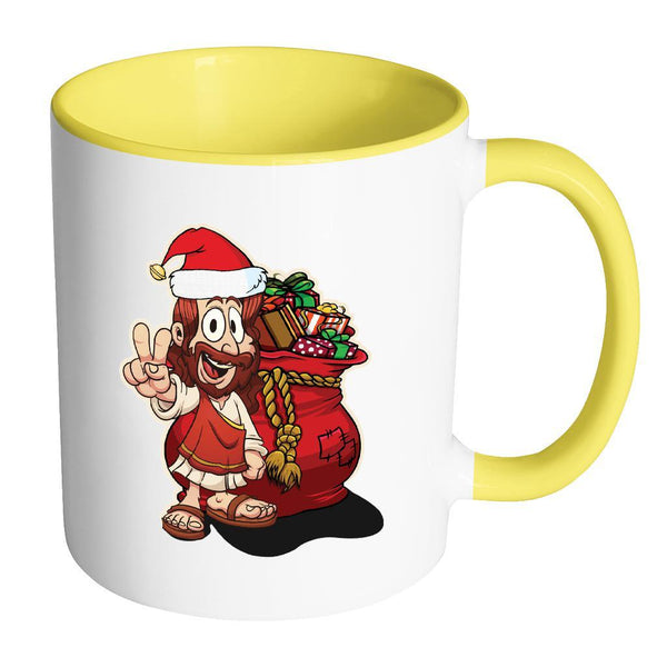 Jesus Christ Santa Ugly Christmas Sweater 11oz Accent Coffee Mug (7 Colors)-Drinkware-Accent Mug - Yellow-JoyHip.Com