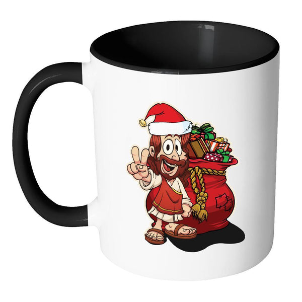 Jesus Christ Santa Ugly Christmas Sweater 11oz Accent Coffee Mug (7 Colors)-Drinkware-JoyHip.Com