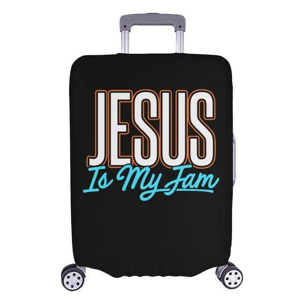 Jesus Is My Jam Christian Travel Luggage Cover Suitcase Protector Fit 18-28 Inch-L-Black-JoyHip.Com