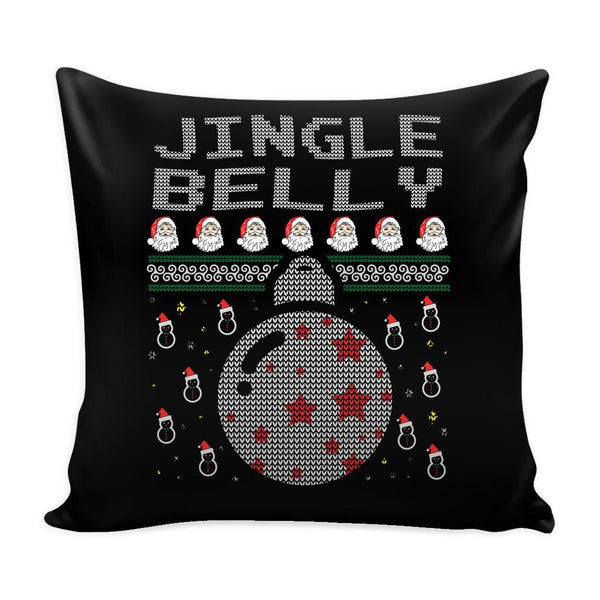 Jingle Belly Funny Festive Funny Ugly Christmas Holiday Sweater Decorative Throw Pillow Cases Cover(4 Colors)-Pillows-Black-JoyHip.Com