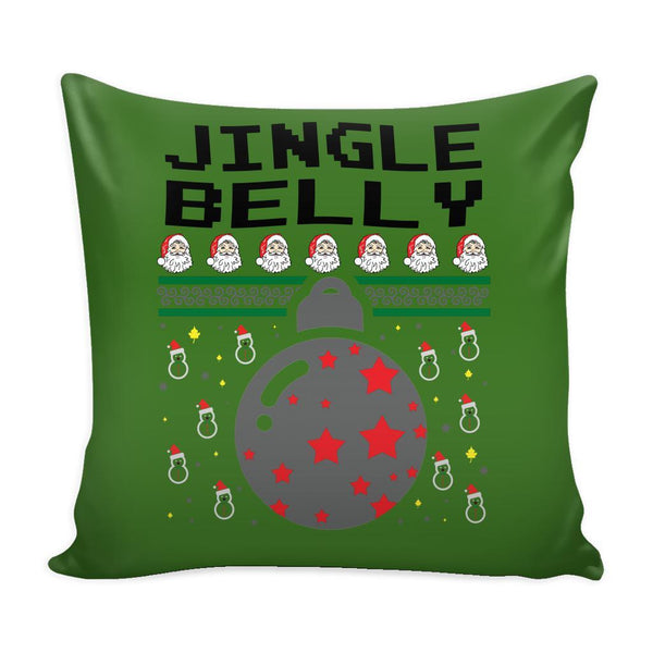 Jingle Belly Funny Festive Funny Ugly Christmas Holiday Sweater Decorative Throw Pillow Cases Cover(4 Colors)-Pillows-Green-JoyHip.Com