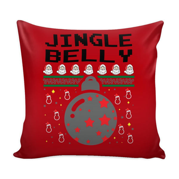 Jingle Belly Funny Festive Funny Ugly Christmas Holiday Sweater Decorative Throw Pillow Cases Cover(4 Colors)-Pillows-Red-JoyHip.Com