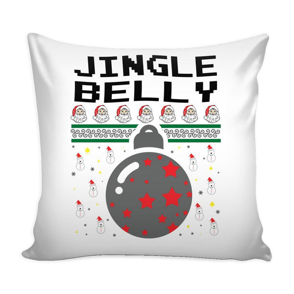 Jingle Belly Funny Festive Funny Ugly Christmas Holiday Sweater Decorative Throw Pillow Cases Cover(4 Colors)-Pillows-White-JoyHip.Com