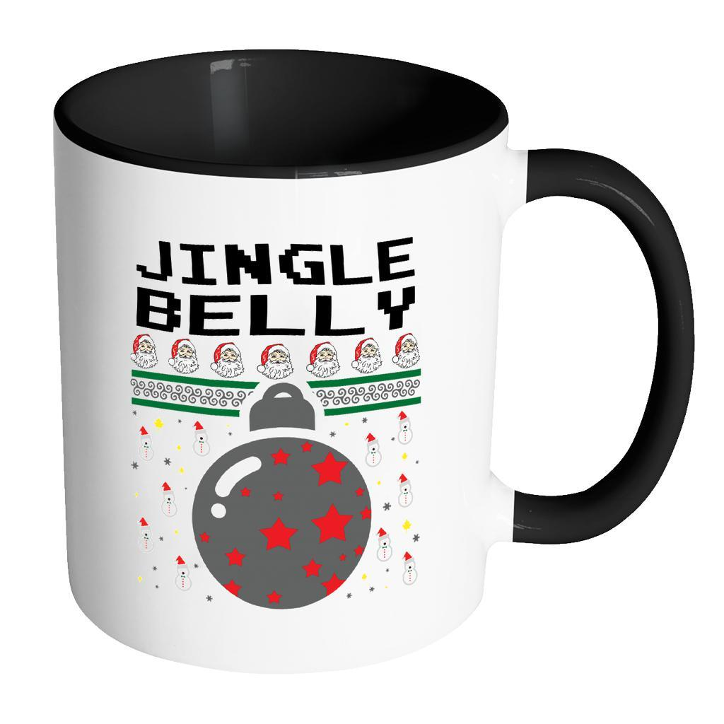 Jingle Belly Funny Ugly Christmas Sweater 11oz Accent Coffee Mug (7 Colors)-Drinkware-Accent Mug - Black-JoyHip.Com