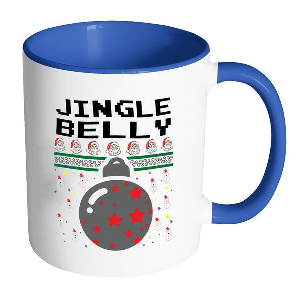 Jingle Belly Funny Ugly Christmas Sweater 11oz Accent Coffee Mug (7 Colors)-Drinkware-Accent Mug - Blue-JoyHip.Com