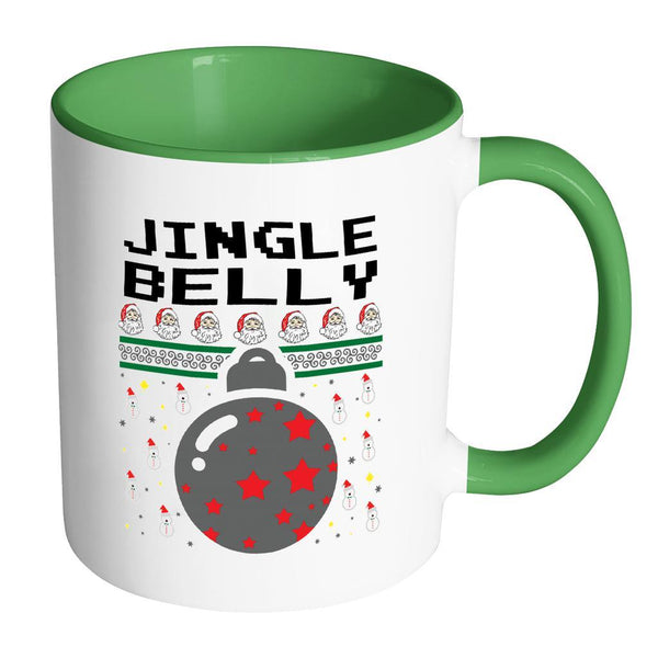 Jingle Belly Funny Ugly Christmas Sweater 11oz Accent Coffee Mug (7 Colors)-Drinkware-Accent Mug - Green-JoyHip.Com