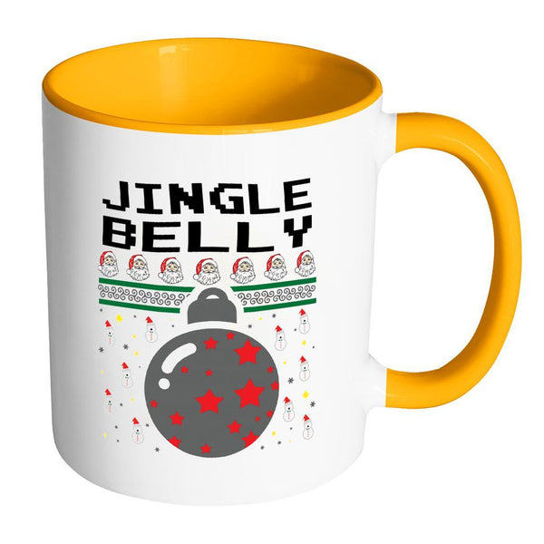 Jingle Belly Funny Ugly Christmas Sweater 11oz Accent Coffee Mug (7 Colors)-Drinkware-Accent Mug - Orange-JoyHip.Com