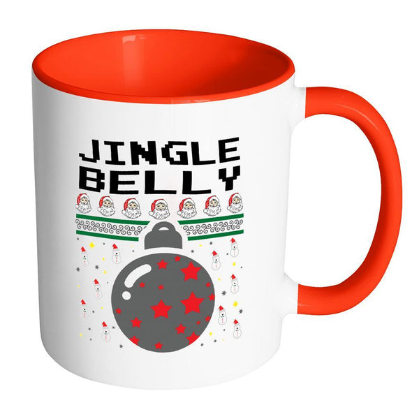 Jingle Belly Funny Ugly Christmas Sweater 11oz Accent Coffee Mug (7 Colors)-Drinkware-Accent Mug - Red-JoyHip.Com