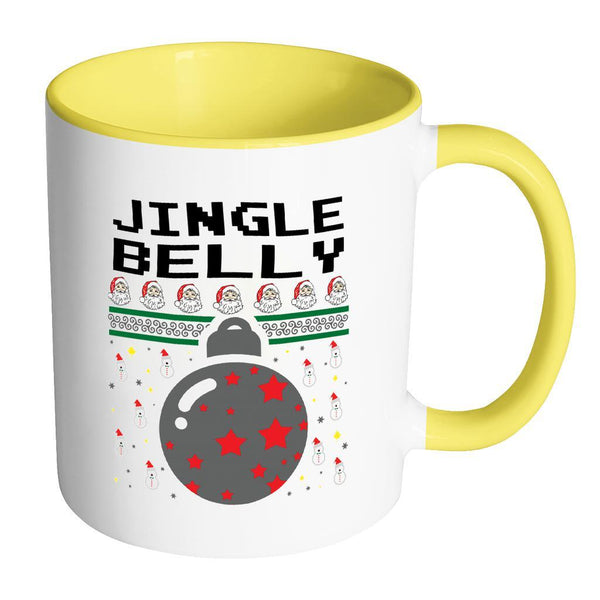 Jingle Belly Funny Ugly Christmas Sweater 11oz Accent Coffee Mug (7 Colors)-Drinkware-Accent Mug - Yellow-JoyHip.Com