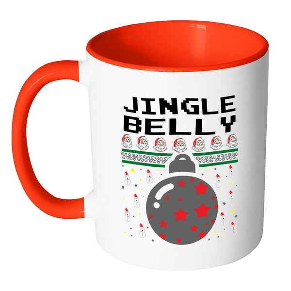 Jingle Belly Funny Ugly Christmas Sweater 11oz Accent Coffee Mug (7 Colors)-Drinkware-JoyHip.Com