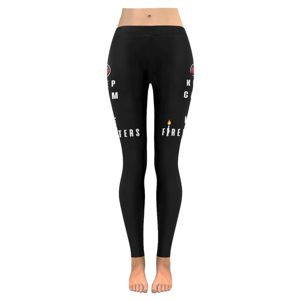 Keep Calm & Love Firefighters Fireman Ladderman Engineman UPF40+ Womens Leggings-JoyHip.Com