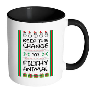 Keep The Change Ya Filthy Animal Funny Ugly Christmas Sweater 11oz Accent Coffee Mug (7 Colors)-Drinkware-Accent Mug - Black-JoyHip.Com