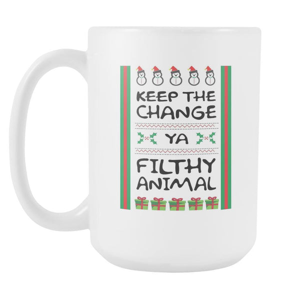 Keep The Change Ya Filthy Animal Funny Ugly Christmas Sweater White 15oz Coffee Mug-Drinkware-Ugly Christmas Sweater White 15oz Coffee Mug-JoyHip.Com
