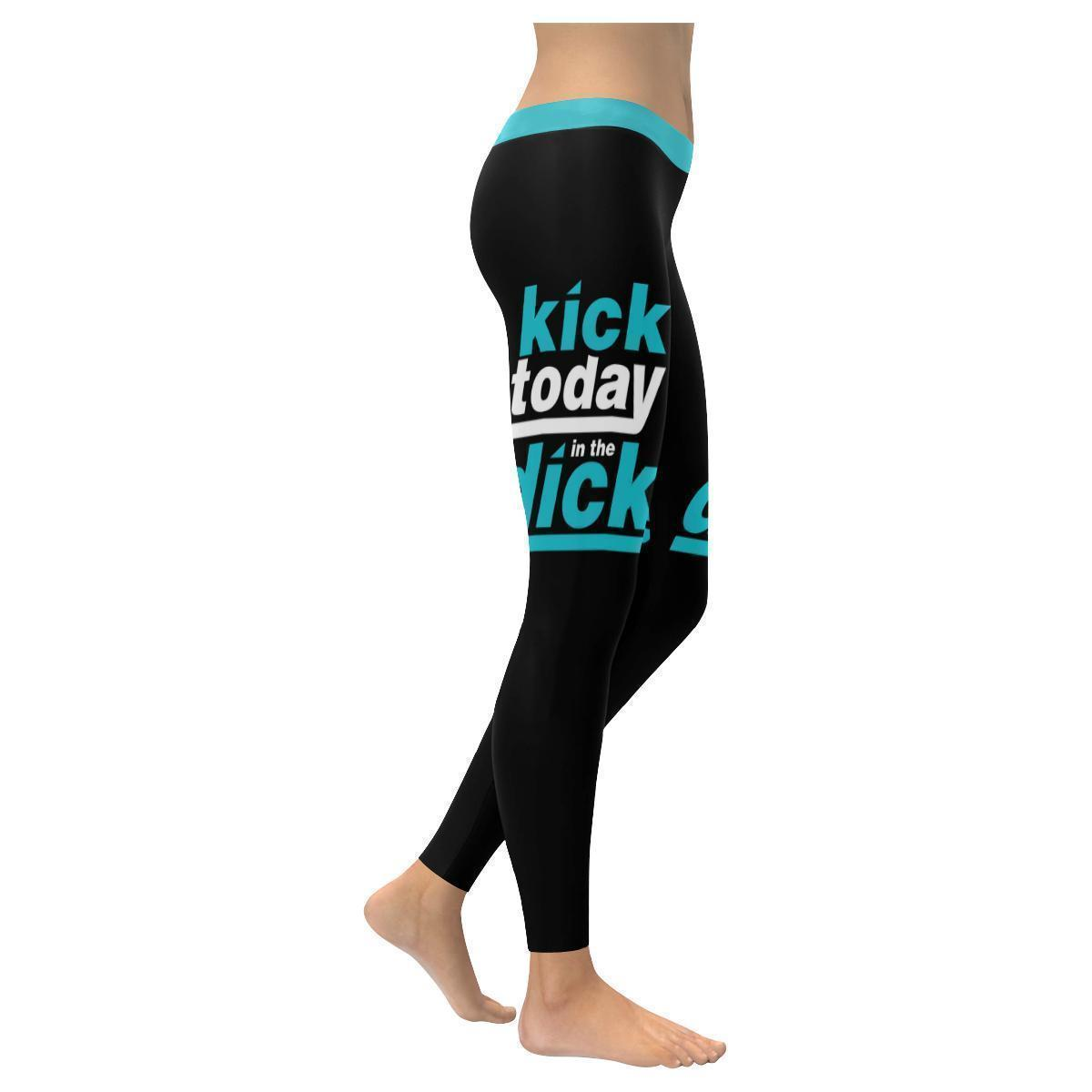 Kick Today In The Dick Humor Hilarious Gag Funny Quotes UPF40+ Womens Leggings-XXS-Black-JoyHip.Com