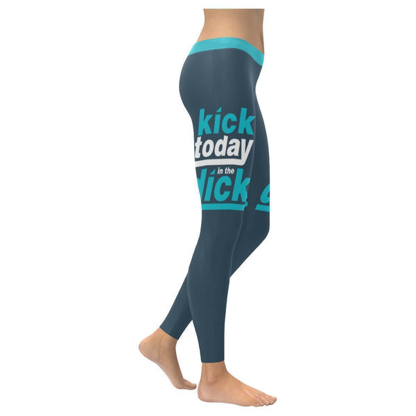 Kick Today In The Dick Humor Hilarious Gag Funny Quotes UPF40+ Womens Leggings-XXS-Grey-JoyHip.Com