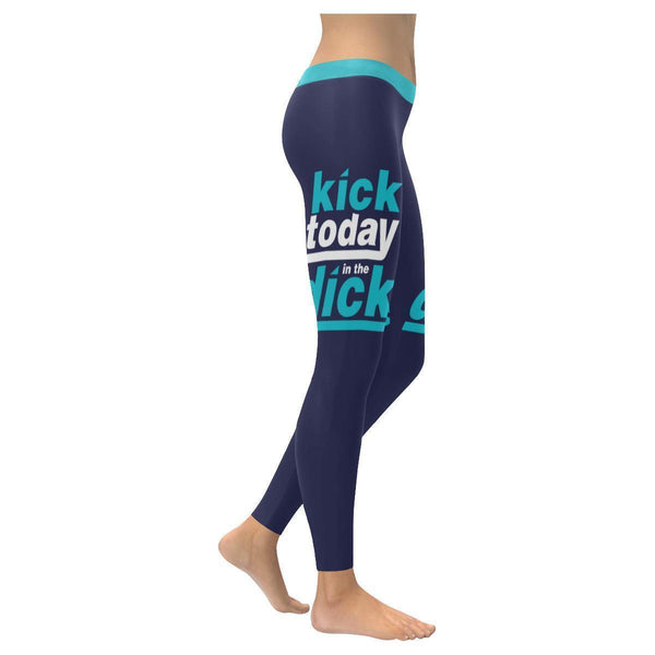 Kick Today In The Dick Humor Hilarious Gag Funny Quotes UPF40+ Womens Leggings-XXS-Navy-JoyHip.Com