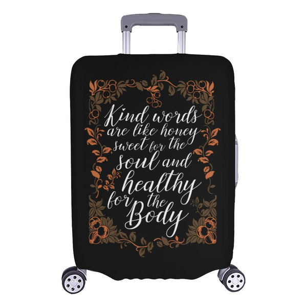 Kind Words Are Sweet For Soul & Healthy For Body Christian Travel Luggage Cover-L-Black-JoyHip.Com