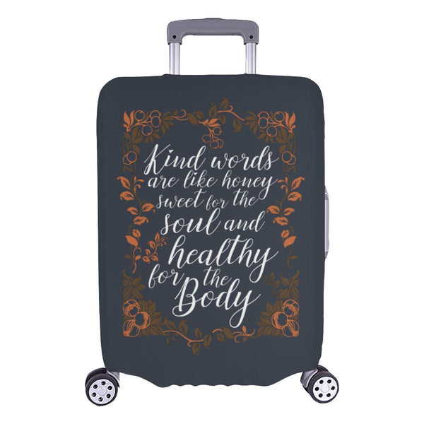Kind Words Are Sweet For Soul & Healthy For Body Christian Travel Luggage Cover-L-Grey-JoyHip.Com