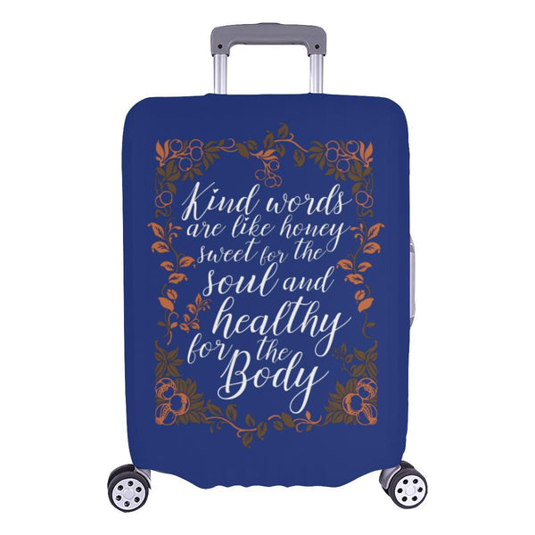 Kind Words Are Sweet For Soul & Healthy For Body Christian Travel Luggage Cover-L-Navy-JoyHip.Com