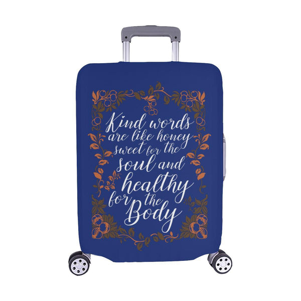 Kind Words Are Sweet For Soul & Healthy For Body Christian Travel Luggage Cover-M-Navy-JoyHip.Com