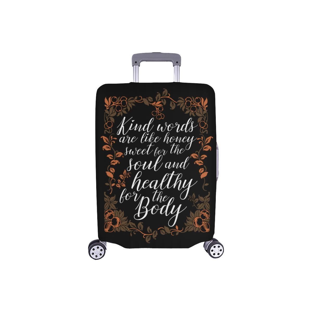 Kind Words Are Sweet For Soul & Healthy For Body Christian Travel Luggage Cover-S-Black-JoyHip.Com