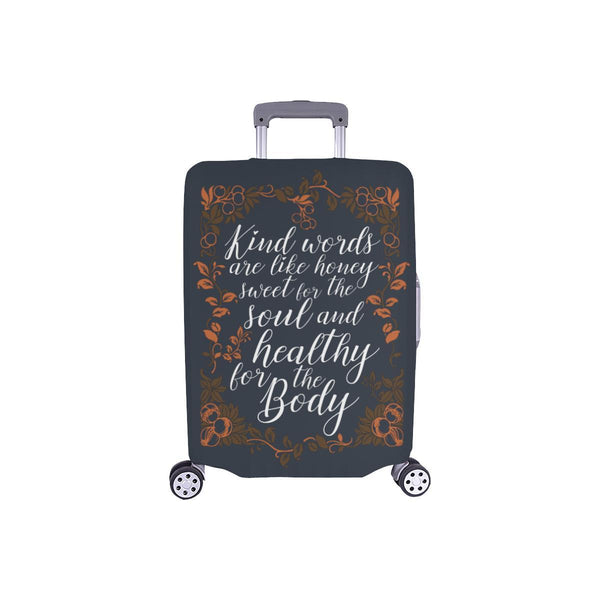 Kind Words Are Sweet For Soul & Healthy For Body Christian Travel Luggage Cover-S-Grey-JoyHip.Com